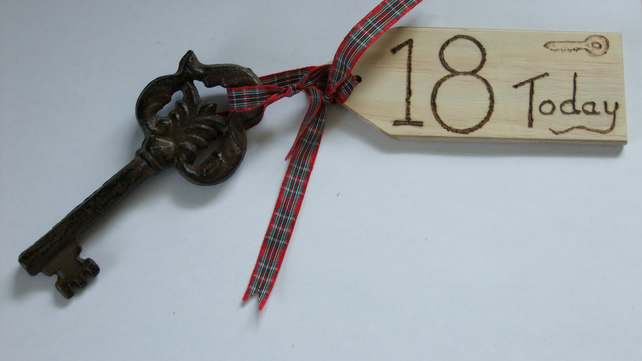 18th birthday key of the door celebration of coming of age & wooden tag.