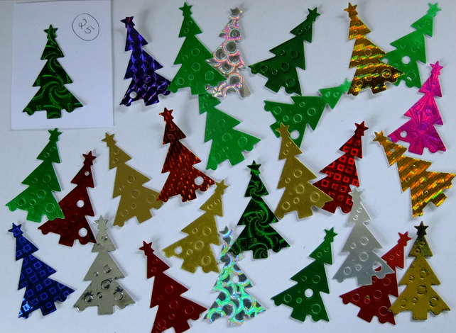 25 Christmas Tree Sizzix die cuts for embellishing cards, table decoration.