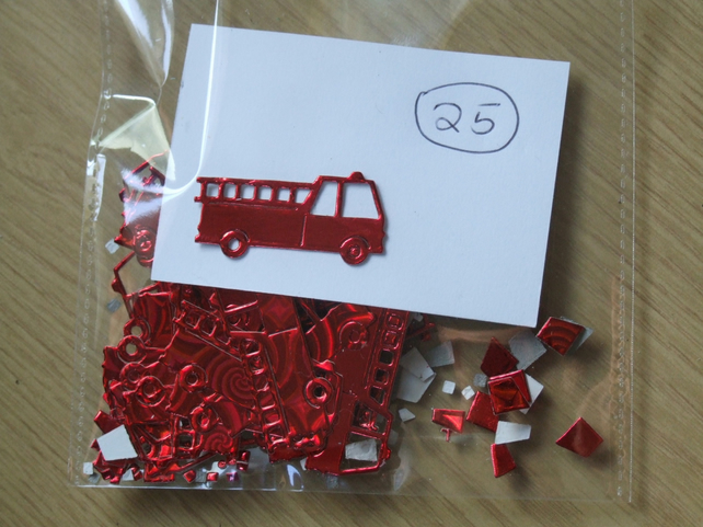25 red fire engine Sizzix die cuts for embellishing cards, table decoration.