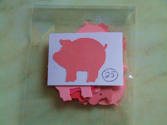25 pink pig Sizzix die cuts for embellishing cards, table decoration.