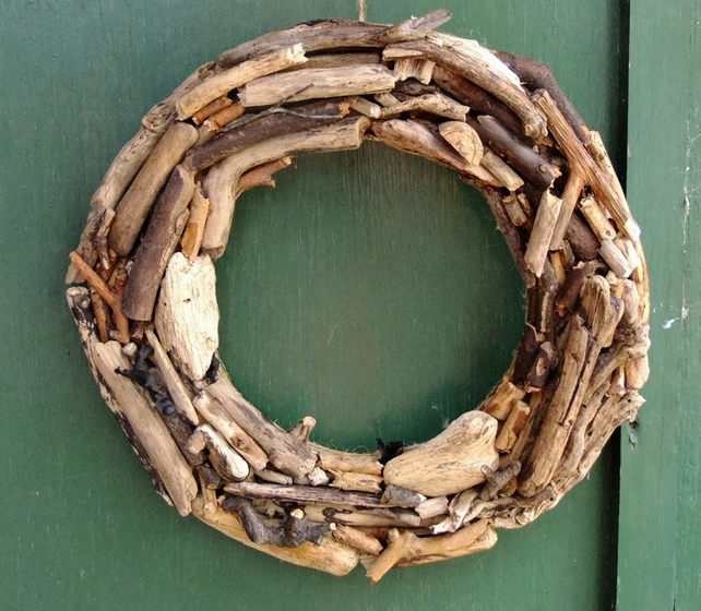 Wreath made from Cornish driftwood, Christmas time or all year round decoration.