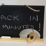 Mousehole chalkboard for messages or as an Open & Closed shop door sign.