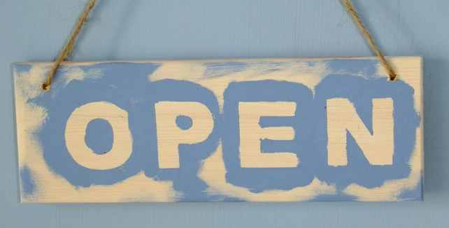 OPEN & CLOSED SHOP DOOR SIGN HANDPAINTED IN BRIGHT COLOURS.