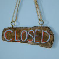 Open & Closed shop door sign made from Cornish driftwood, handmade handpainted.