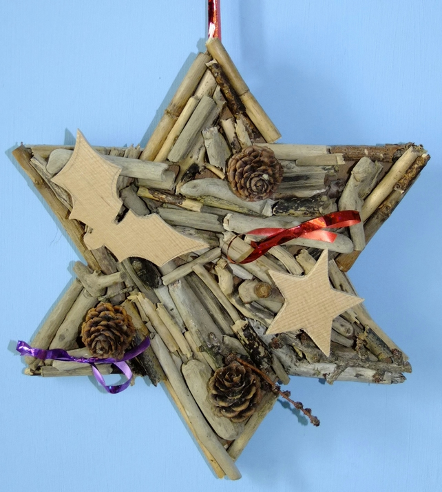 Star made from Cornish driftwood, Christmas time or all year round decoration.