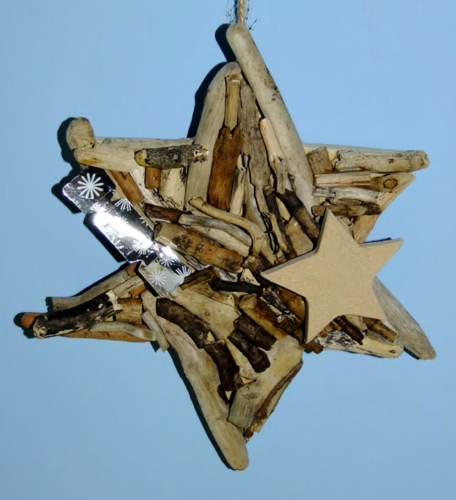 Christmas star made from Cornish driftwood, Xmas time or all year decoration.