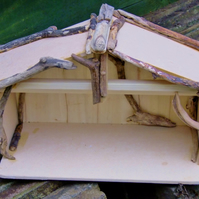 Christmas Nativity shelter stable for Baby Jesus with Cornish driftwood effect