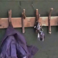 Cornish driftwood rustic coat, key, dog lead clothes rack with five hooks.