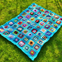 "Blue crochet baby or dolls blanket 40"" x 32"". For cot, pram or push chair."