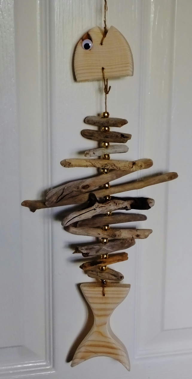 Cornish driftwood fish wallhanging decoration with gold coloured beads