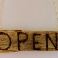 SHOP DOOR SIGN OPEN & CLOSED LETTERS BURNT INTO CORNISH DRIFTWOOD