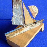 Driftwood yatch or sailing boat ideal decoration for seaside cottage
