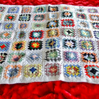"White crochet baby or dolls blanket 40"" x 32"". For cot, pram or push chair."