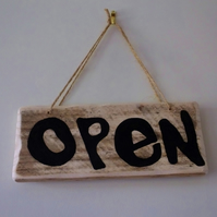 SHOP DOOR SIGN OPEN & CLOSED LETTERS PAINTED ONTO CORNISH DRIFTWOOD
