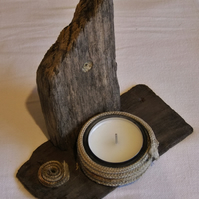 Cornish driftwood shelf for glass holder & tealight with string coil.