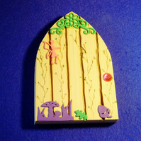 Magical fairy or hobbit handcrafted door for home or garden decoration ornament