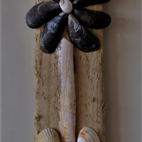 DRIFTWOOD & SEA SHELL WALLHANGING ALL BITS FROM CORNWALL