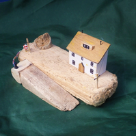Harbourside quayside slipway scene made from recycled wood & Cornish driftwood