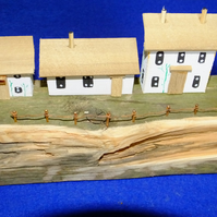 Pretty terrace quayside scene made from recycled wood & Cornish driftwood