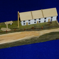 Terrace of cottages seaside scene made from recycled wood & Cornish driftwood