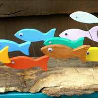 SHOAL OF FISH TABLE ORNAMENT MADE FROM NATURAL DRIFTWOOD FROM CORNWALL
