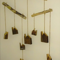 Driftwood mobile with Cornish tin mines engine houses made old reclaimed wood