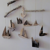 Driftwood mobile with Cornish tin mines sailing boats anchors reclaimed wood