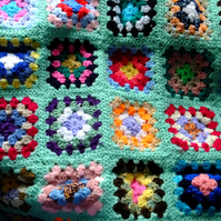 "Green crochet baby or dolls blanket 40"" x 32"". For cot, pram or push chair."
