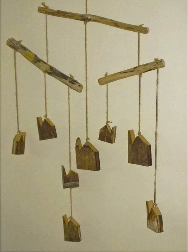 Driftwood mobile with 7 Cornish tin mine engine houses