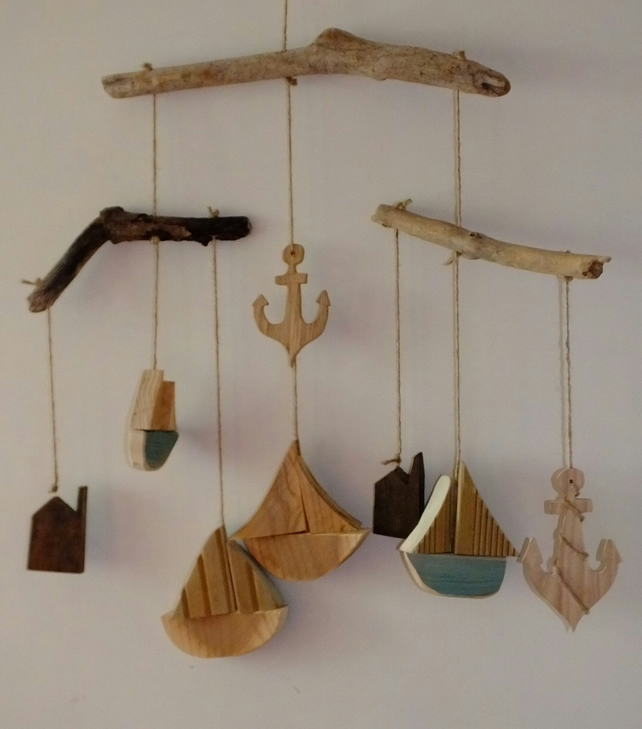 Driftwood mobile with sailing boats, anchors & Cornish tin mine engine houses