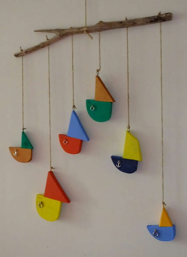 Driftwood mobile with 6 colourful hand painted sailing boats,