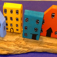 6 little handmade crude & simple houses on Cornish driftwood for display