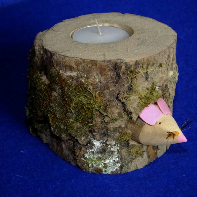 Wooden tealight candle holder with little mouse peeking out of mousehole
