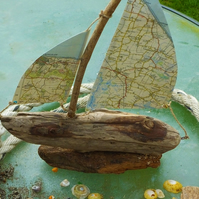 Cornish driftwood sailing ship yacht with ordnance survey map sails decoration