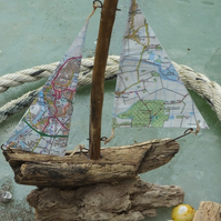 Driftwood sailing ship yacht with ordnance survey map sails King's Lynn area