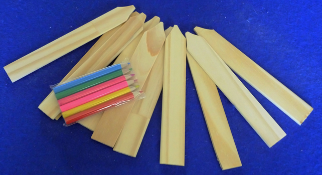 Set of ten wooden seed or plant labels ideal for young children with crayons