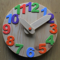 Wooden chunky toy clock with foam numbers for teaching children the time