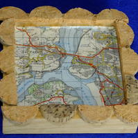 Coaster or place mat for cup or mug Ordnance Survey map Tamar Bridge Saltash