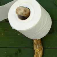 WC loo or bathroom toilet roll holder made from driftwood found in Cornwall