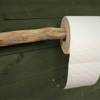 Rustic WC or bathroom toilet roll holder made from driftwood found in Cornwall