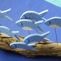 SHOAL OF 8 BLUE & WHITE FISH ORNAMENT MADE FROM NATURAL DRIFTWOOD FROM CORNWALL