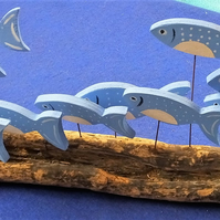 SHOAL OF 10 BLUE & WHITE FISH ORNAMENT MADE FROM NATURAL DRIFTWOOD FROM CORNWALL