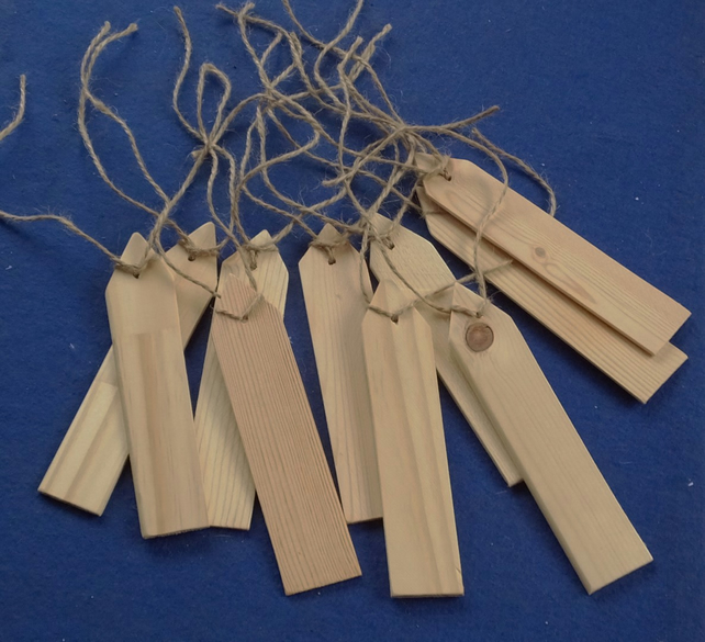 10 wooden hand made gift tags or labels for Christmas or birthday presents