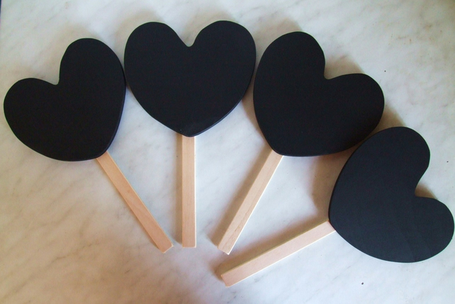 Heart shaped chalkboard message board for hen stag party wedding reception