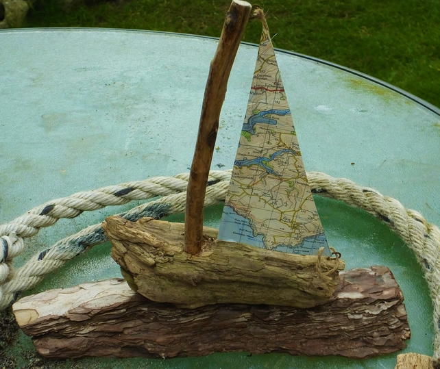 Salcombe area sailing ship yacht with ordnance survey map sails decoration