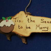 Tis the season to be merry natural wooden sign for Christmas time