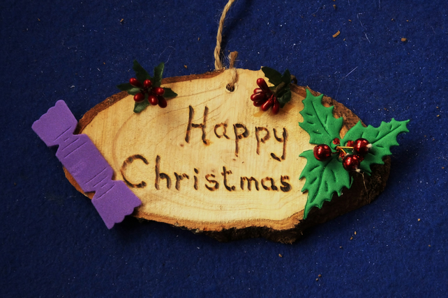 Happy Christmas natural wooden decoration or sign for Christmas time