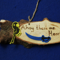 Ahoy there me Hearties natural decoration sign for children who like pirates