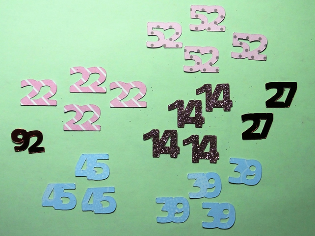 Birthday or wedding anniversary random cut out numbers table setting confetti