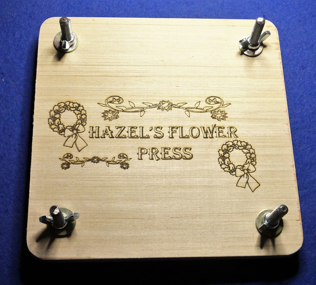 Bespoke flower press for wild & garden plants & flowers with personalised name.